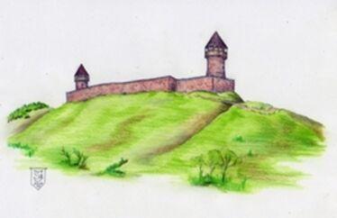 A Csonka-vár a 14. században            Szeles József grafikája