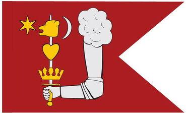 Régi székely zászló egykori címerképekkel – Szekeres Attila rekonstrukciója